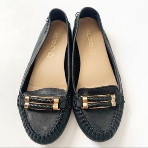 ALDO Tomaso Black Leather Loafer Flats size 6